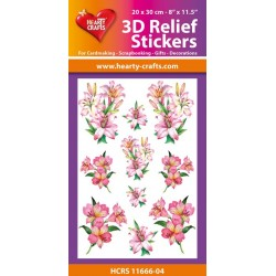 3D Relief Stickers A4 -Lelies